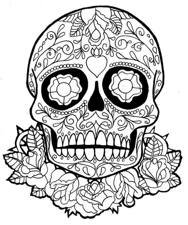 Dia de los muertos day of the dead to color for children - Dia De