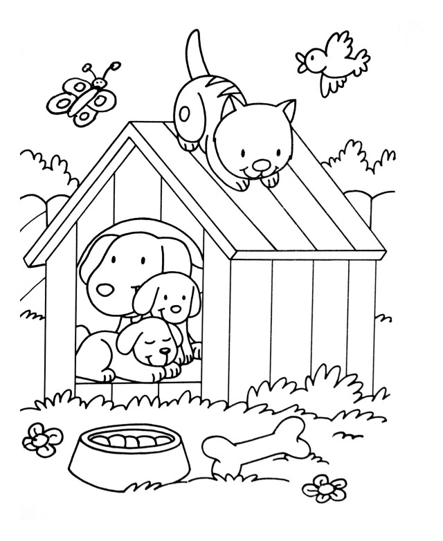 Dogs for children : Dogs & cats playing - Dogs Kids Coloring Pages