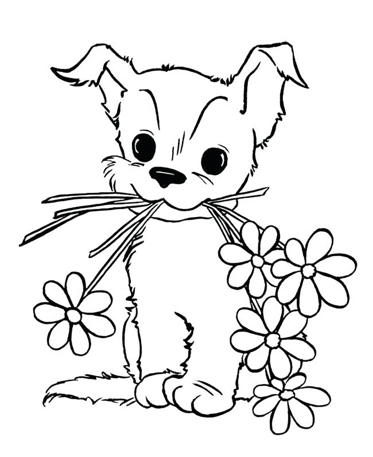 Dogs To Color For Kids Dog With Flowers