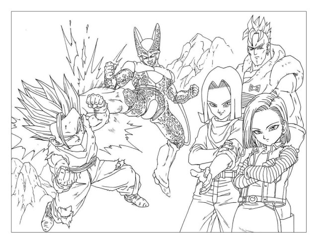 Songohan Cell And Ciborg - Dragon Ball Z Kids Coloring Pages
