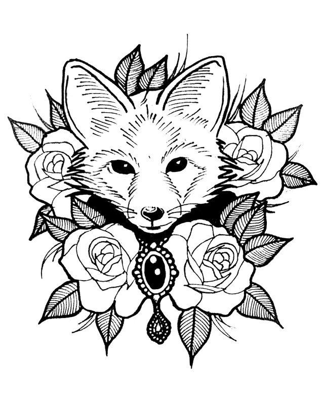 Fox to color for children - Fox Kids Coloring Pages