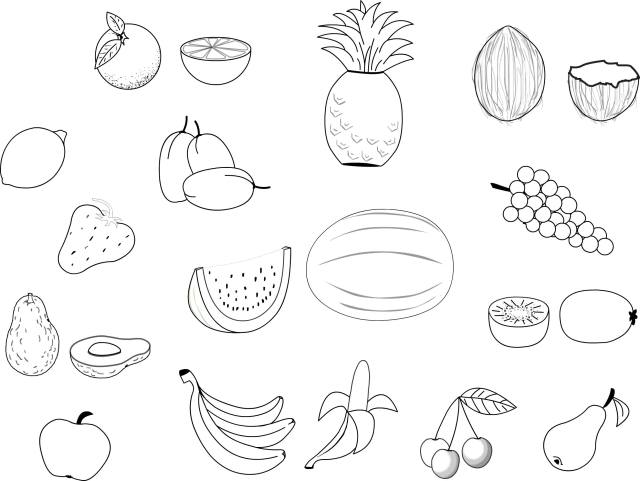Fruits and vegetables free to color for kids - Fruits And