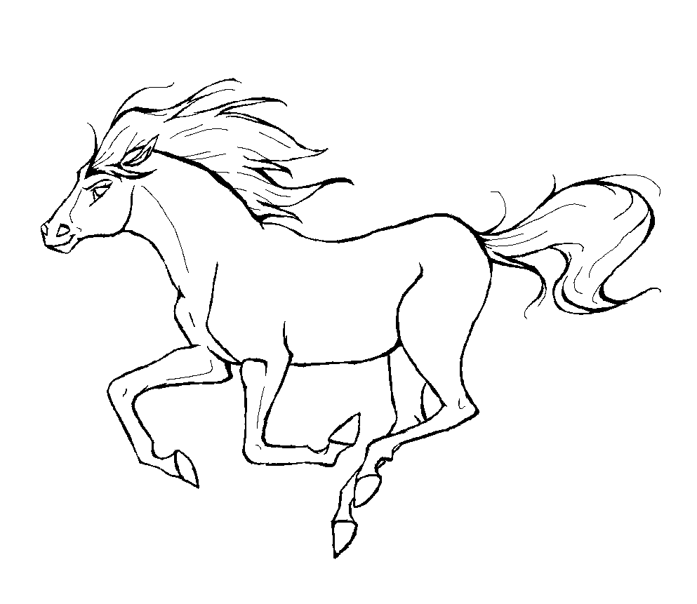 Horse To Color For Kids Simple Drawing Of Galloping Horse Horses Kids Coloring Pages