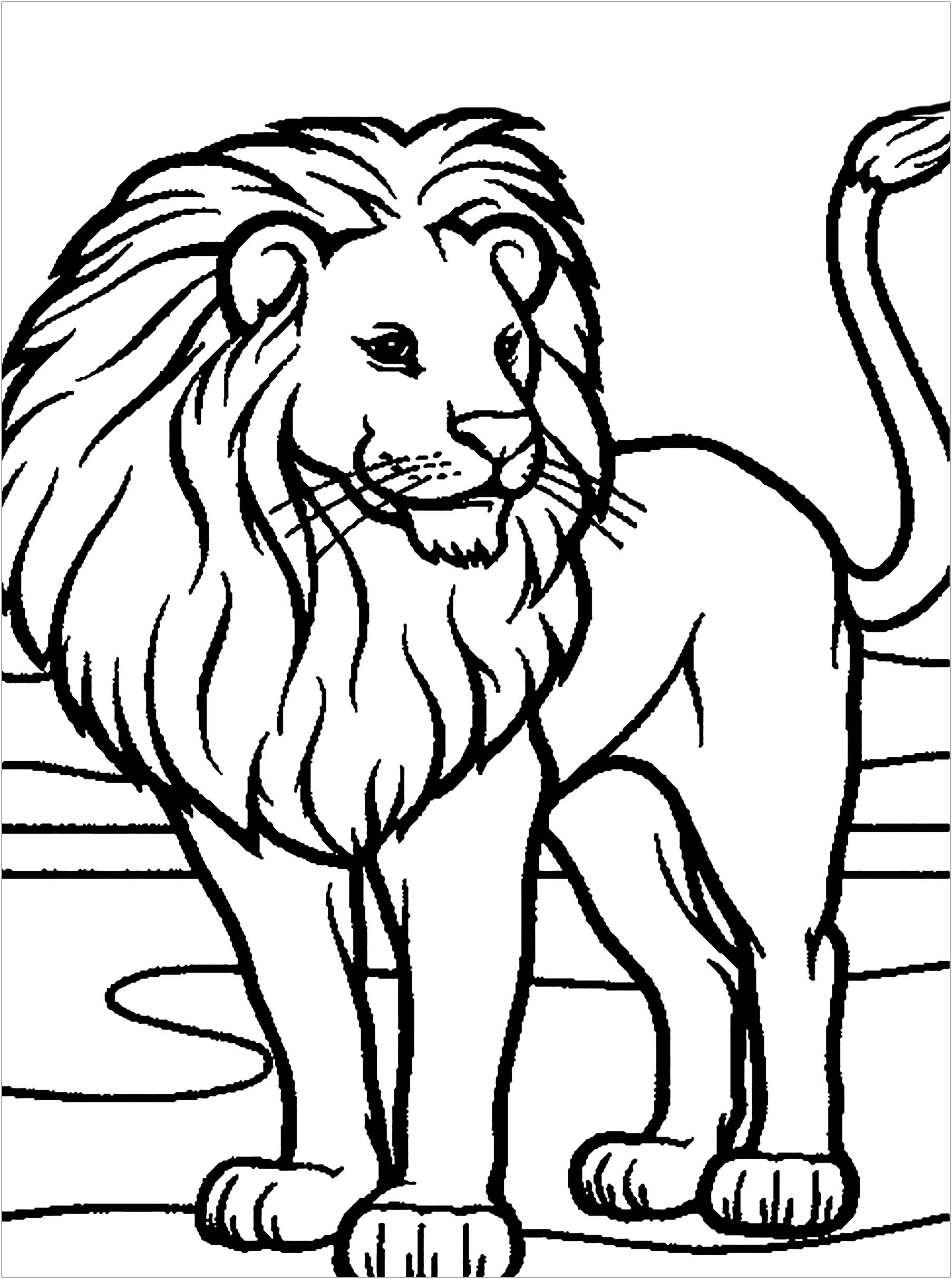 Lion Free To Color For Children