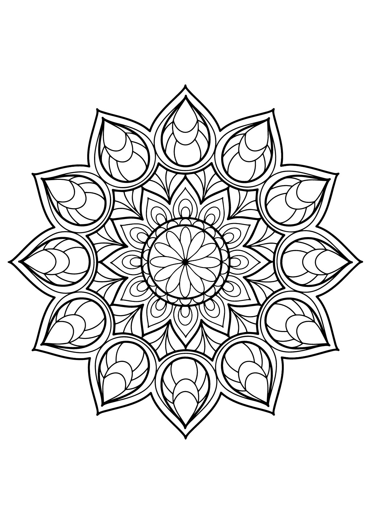 Mandalas free to color for kids - Mandalas Kids Coloring Pages | free printable mandala coloring pages for adults easy