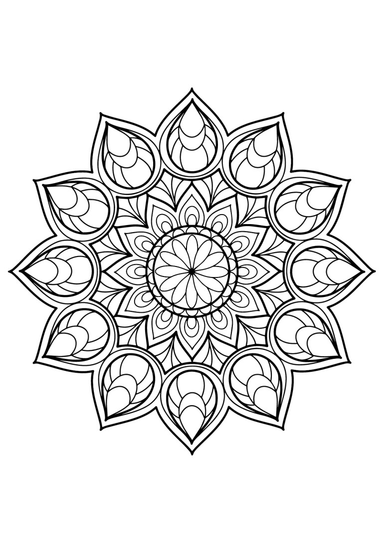 Mandalas free to color for kids - Mandalas Kids Coloring Pages | free printable mandala coloring pages for adults