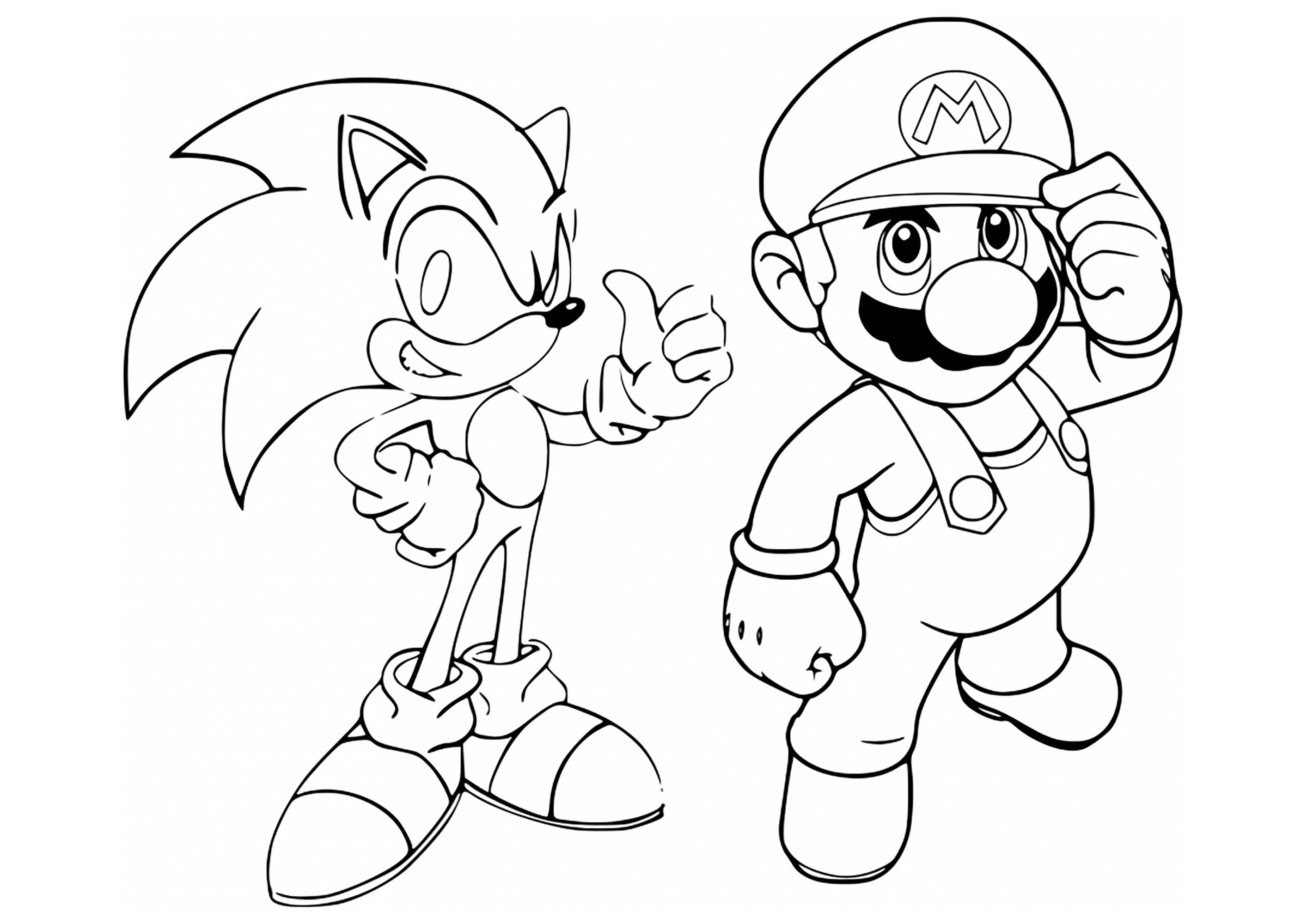Mario Amp Sonic Coloring Page