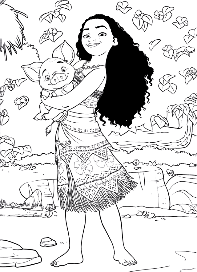 Moana to color for children - Moana Kids Coloring Pages