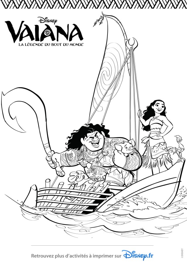 Moana to color for kids - Moana Kids Coloring Pages