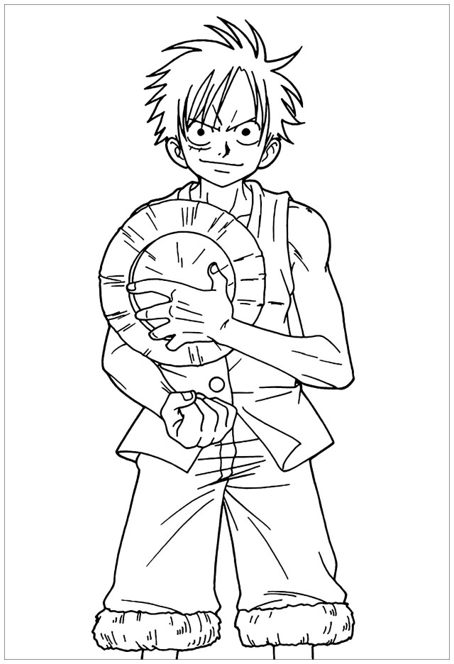 One piece to color for kids - One Piece Kids Coloring Pages