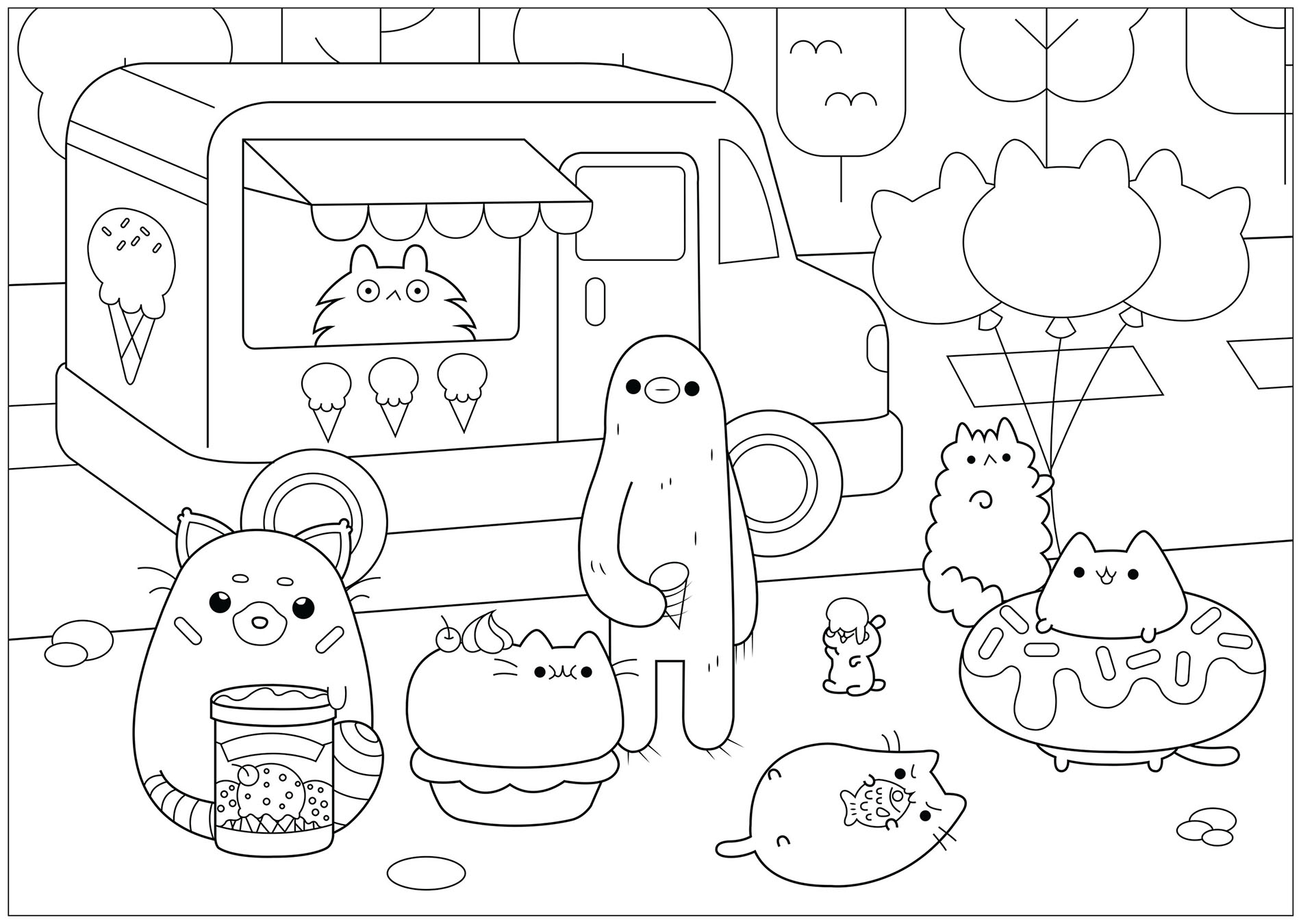Pusheen To Color For Kids