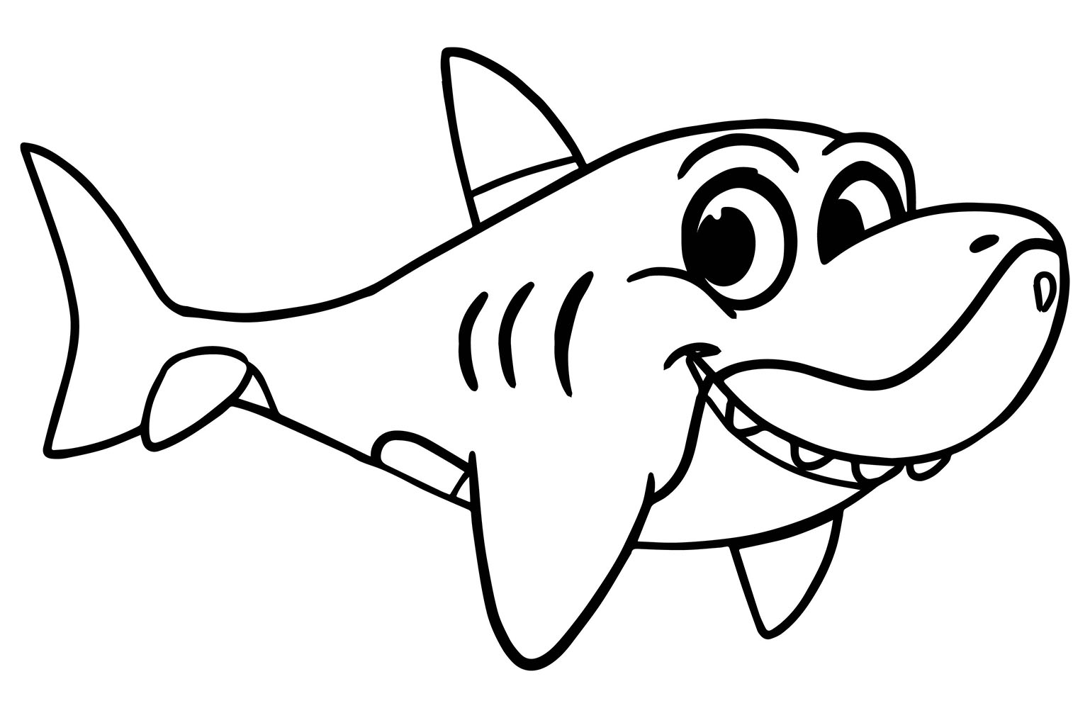 Sharks To Color For Children