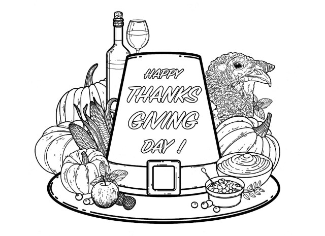 Thanksgiving free to color for children - Thanksgiving Kids