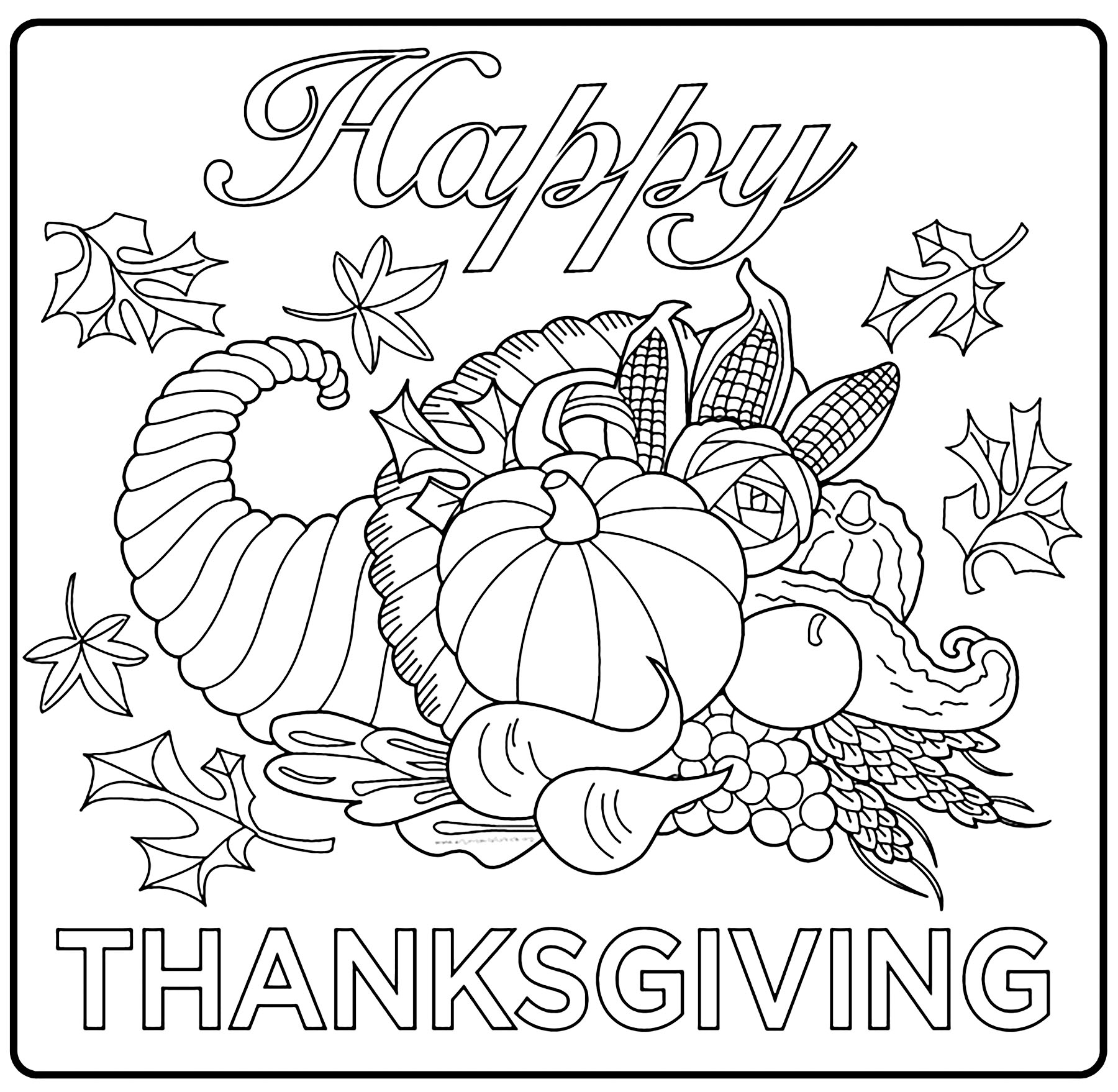 Thanksgiving Free To Color For Children