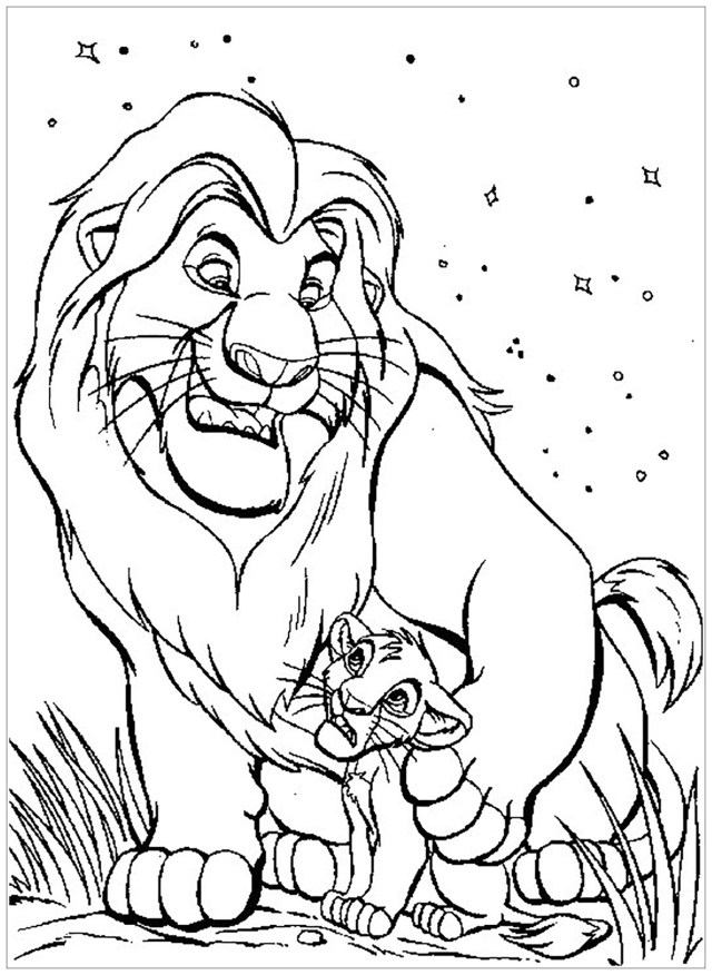 Mufasa with Simba - The Lion King Kids Coloring Pages