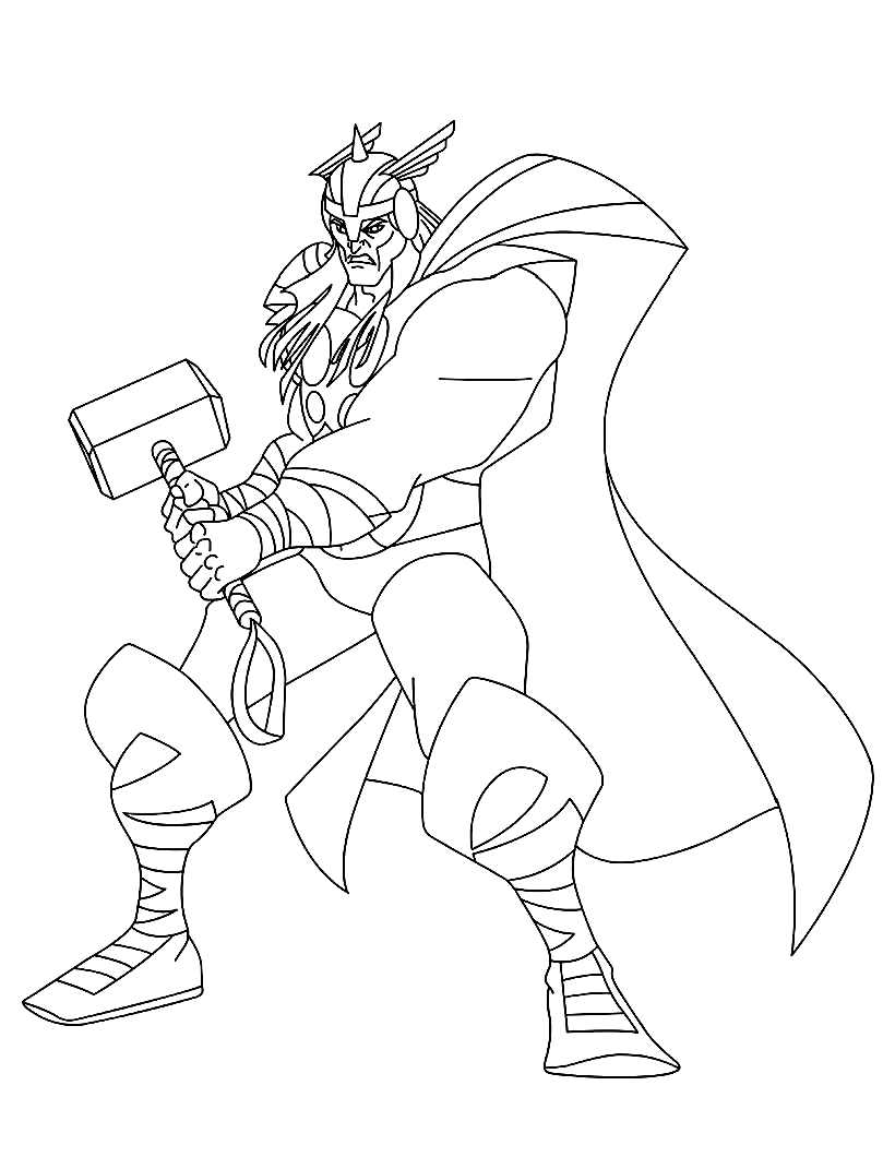 Thor To Color For Children Thor Kids Coloring Pages