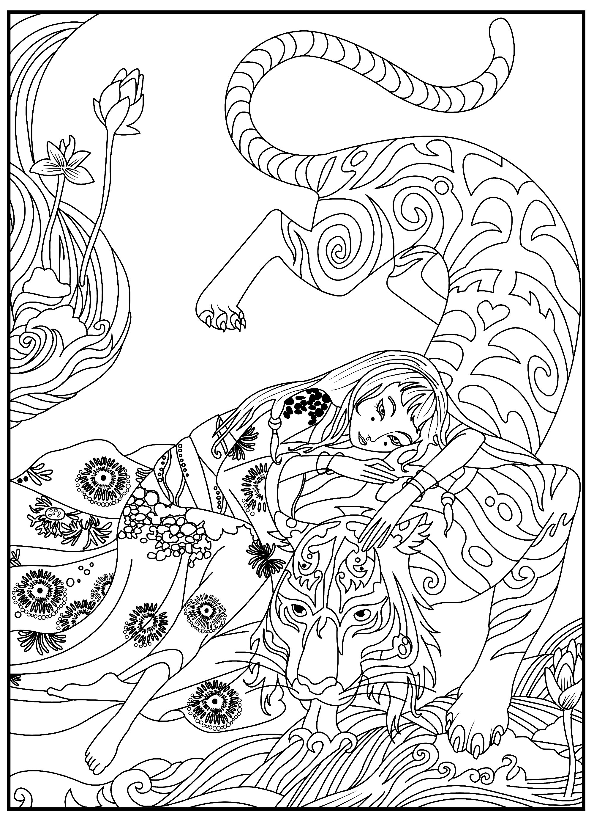 Tigers Free To Color For Kids