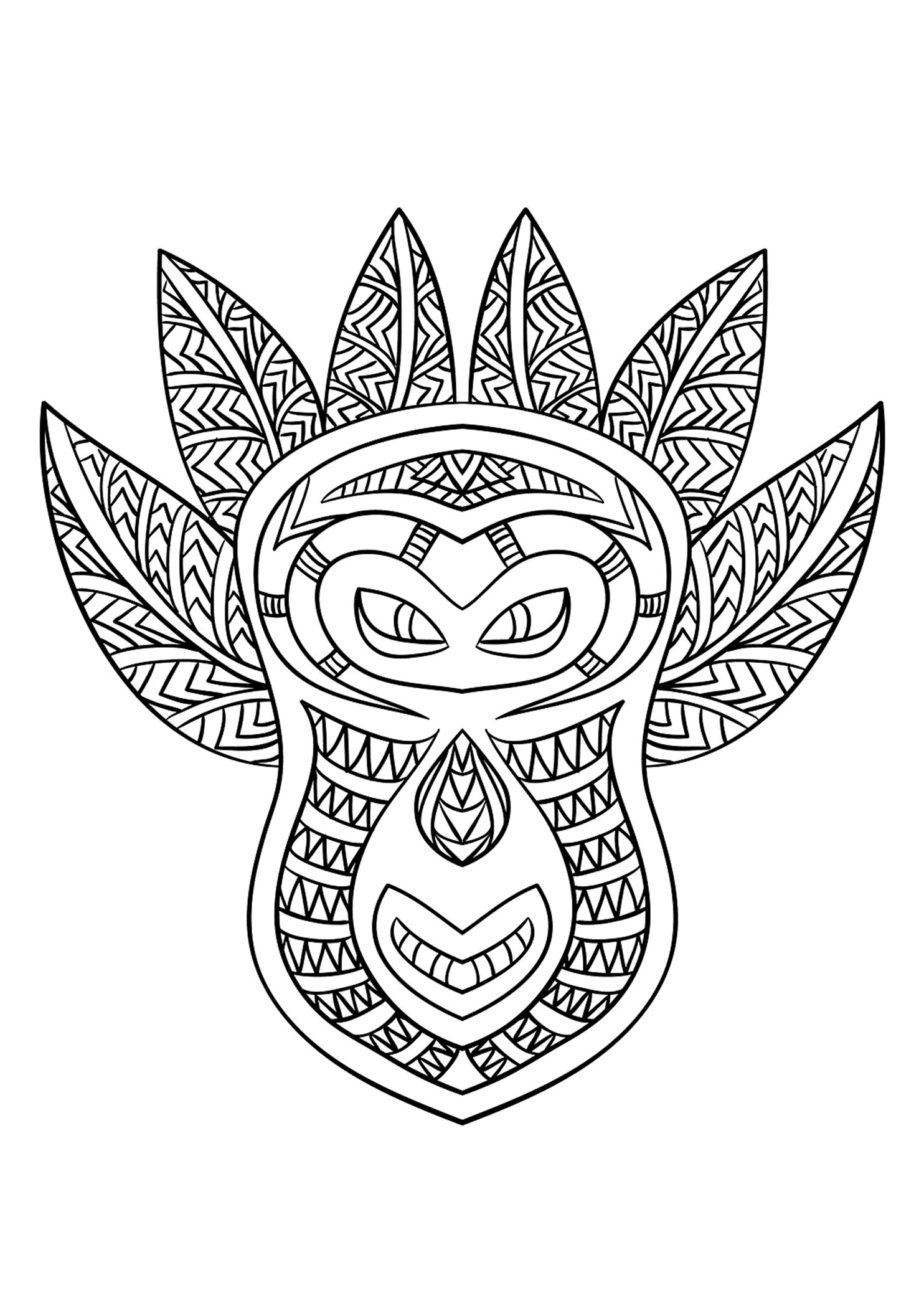 African Mask 6 Africa Adult Coloring Pages