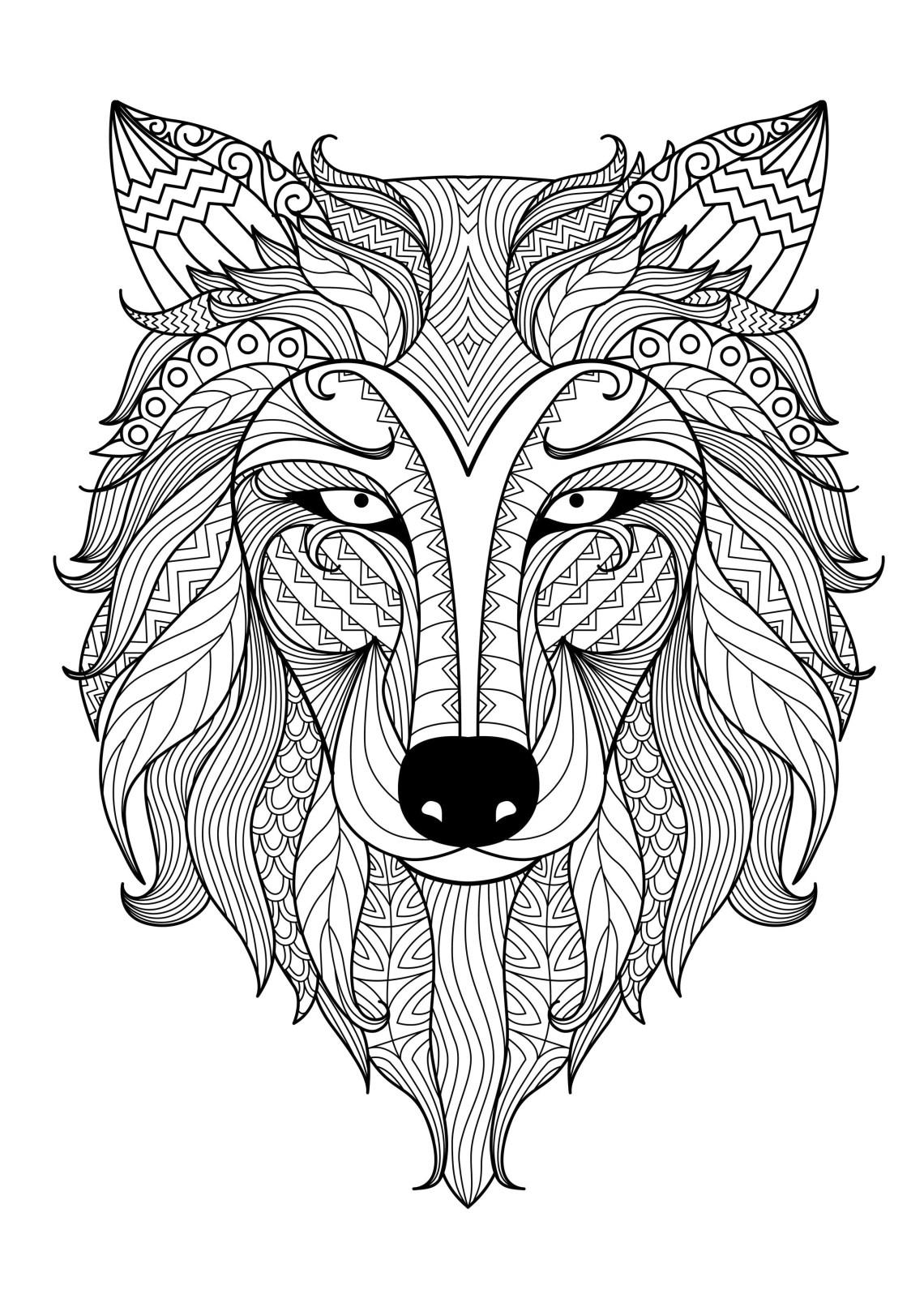 Incredible wolf by bimdeedee   Animals - Coloring pages ...   coloring pages for adults animals