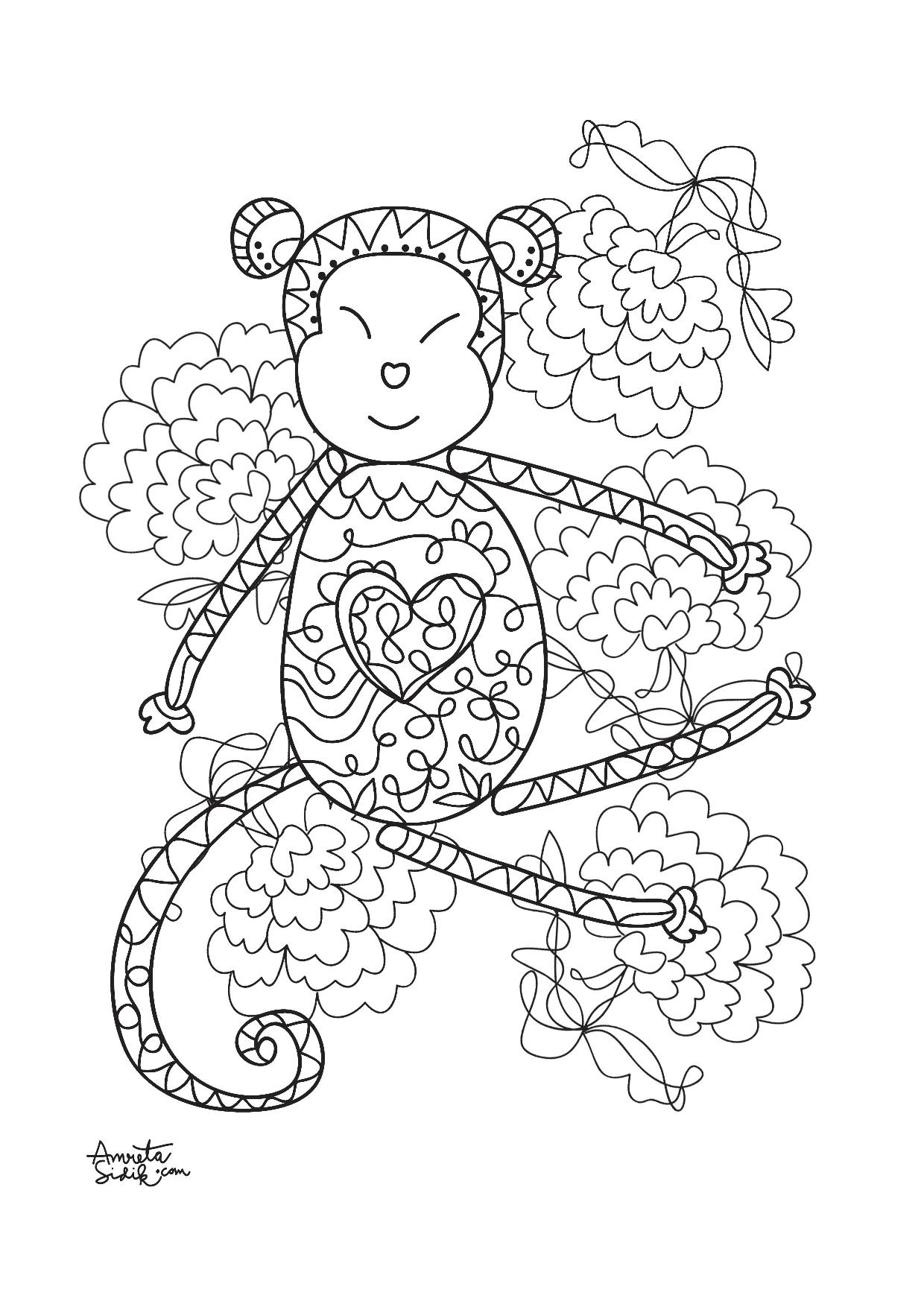 Year Of The Monkey 3 Anti Stress Adult Coloring Pages