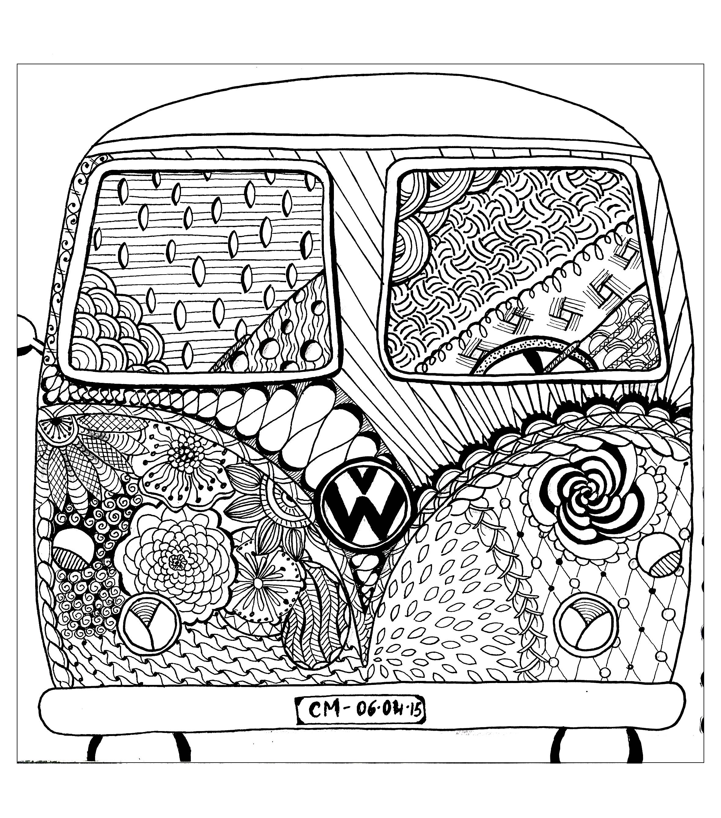 hippie van coloring pages | Top 5 Free Adult Coloring Page – We Are Teen Artists