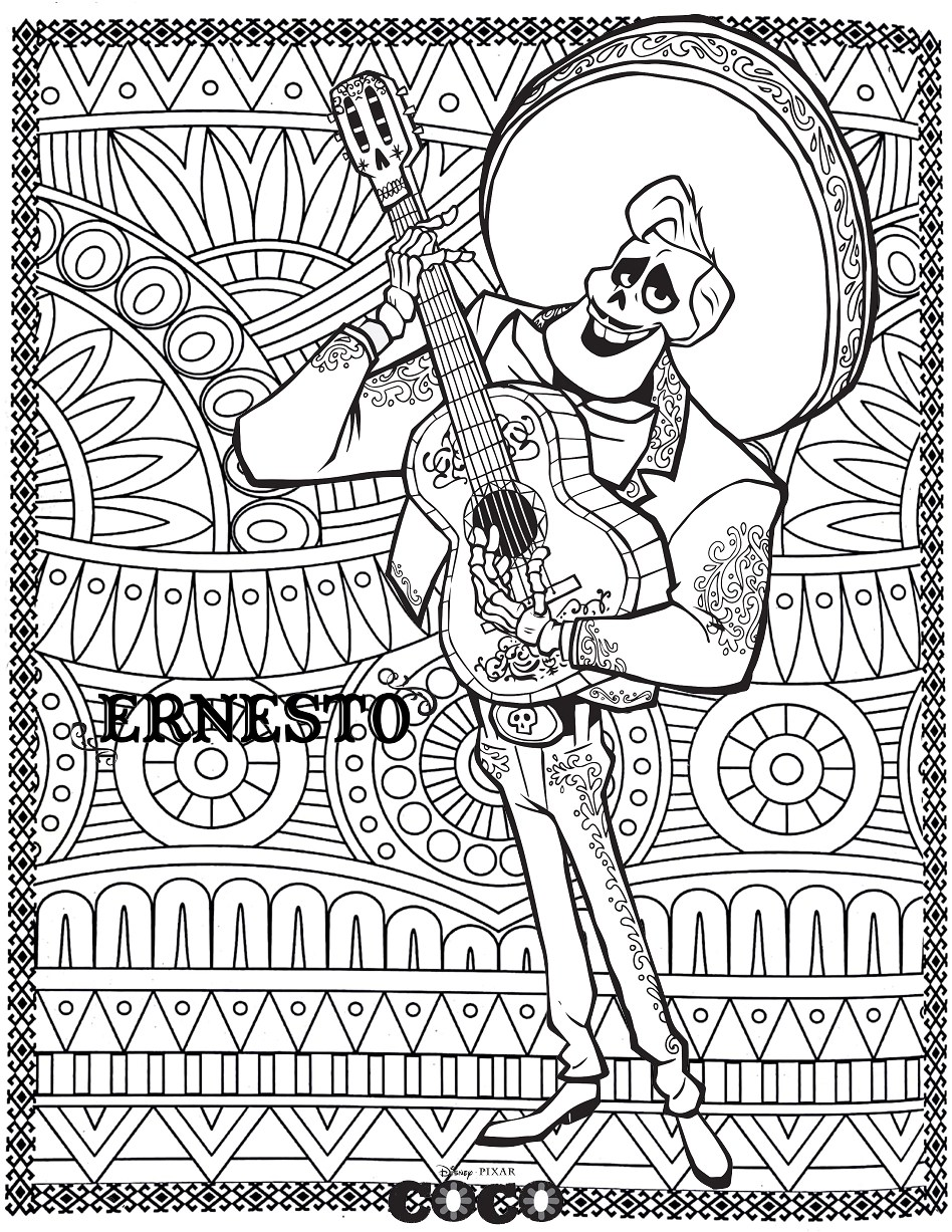 Disney Coco Ernesto Return To Childhood Coloring Pages For