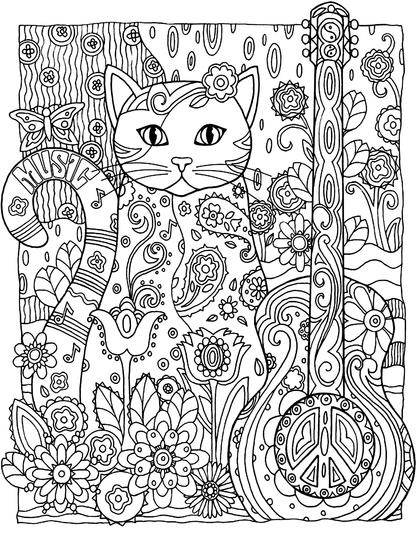 Cat Guitar Cats Coloring Pages For Adults Justcolor