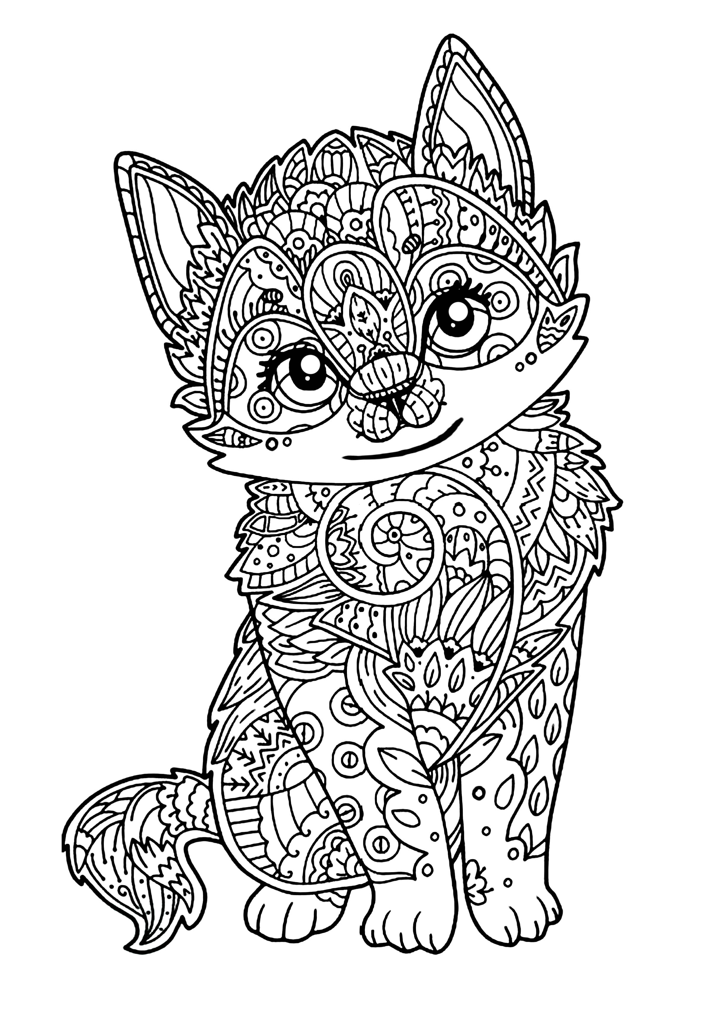 Cute Kitten Cats Adult Coloring Pages