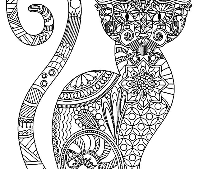 Elegant Cat With Complex Patterns Cats Adult Coloring Pages