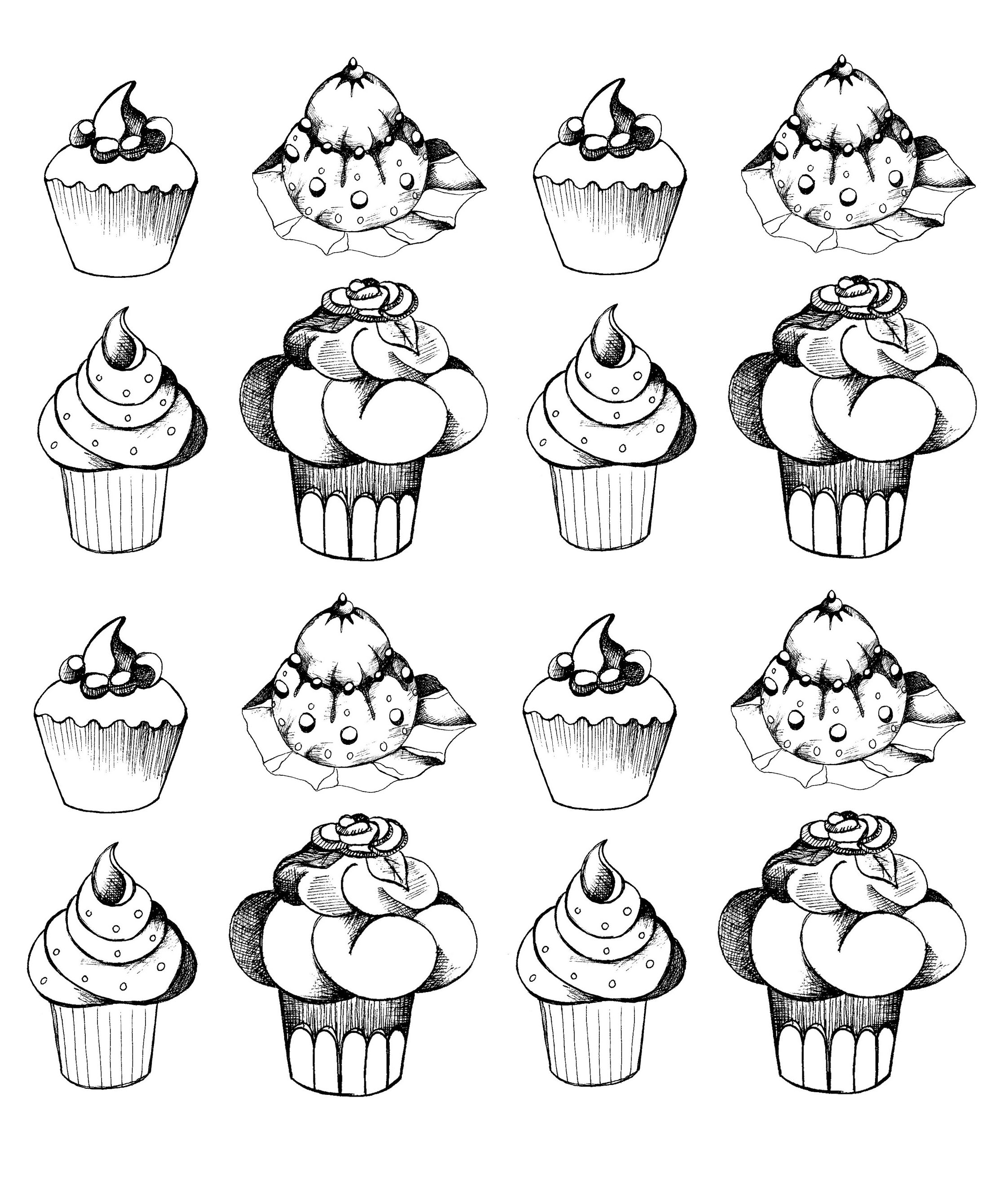 Cupcakes Oldstyle Cupcakes And Cakes Coloring Pages For Adults