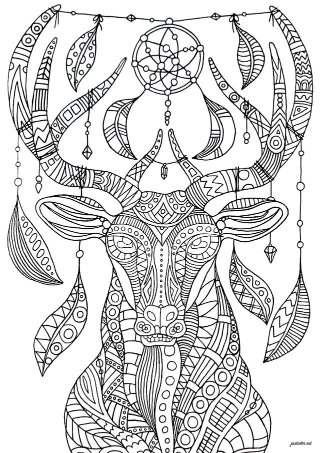 Dreamcatcher deer complex - Deers Adult Coloring Pages