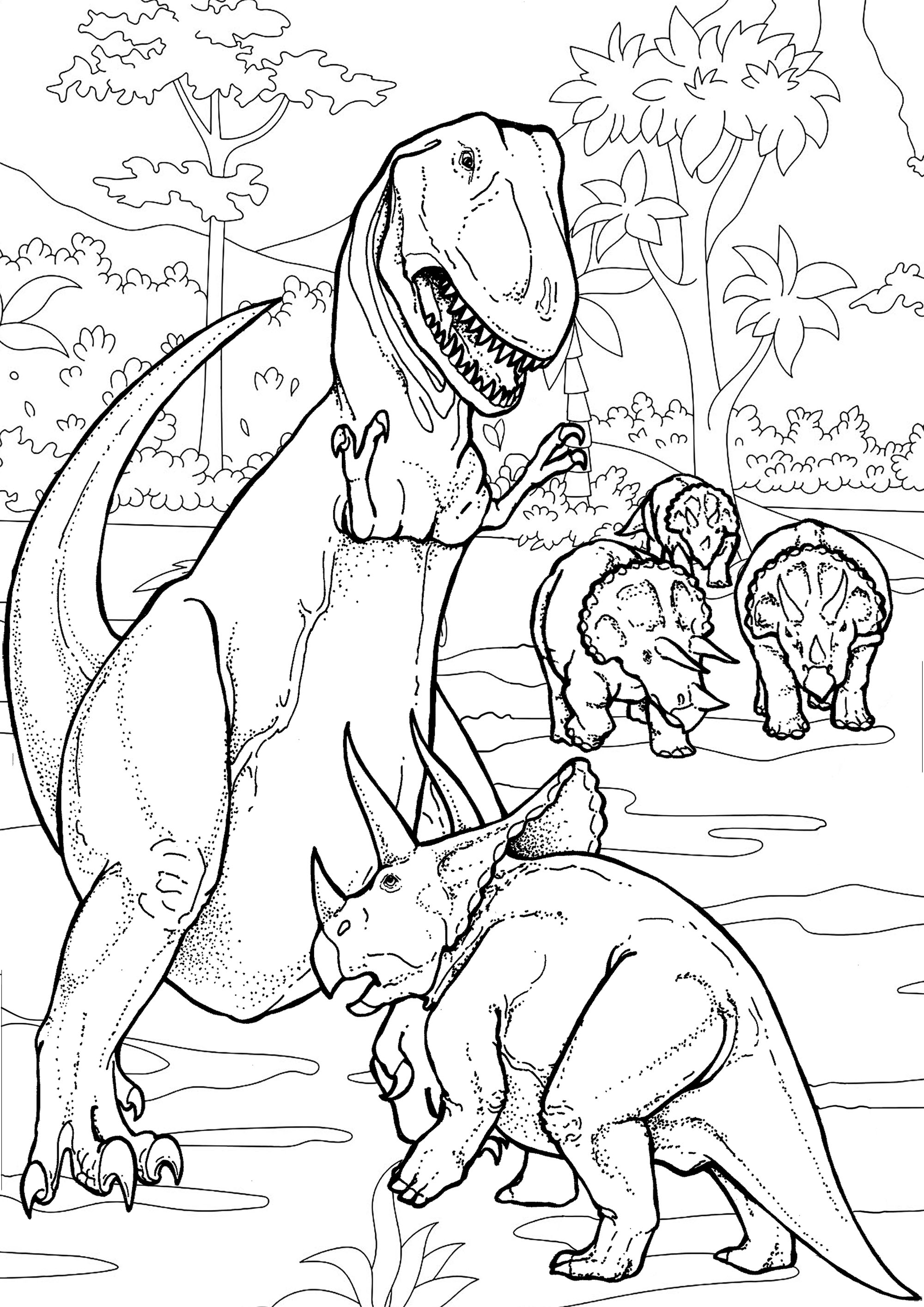 Dinosaurs Battle Dinosaurs Adult Coloring Pages