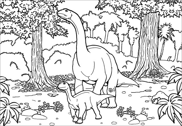 Two Diplodocus - Dinosaurs Adult Coloring Pages
