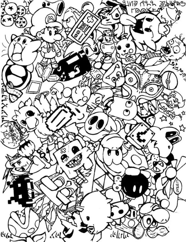 Doodle art doodling 14 - Doodle Art / Doodling Adult Coloring Pages