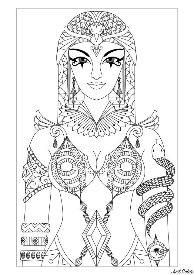Egypt cleopatra queen - Egypt Adult Coloring Pages