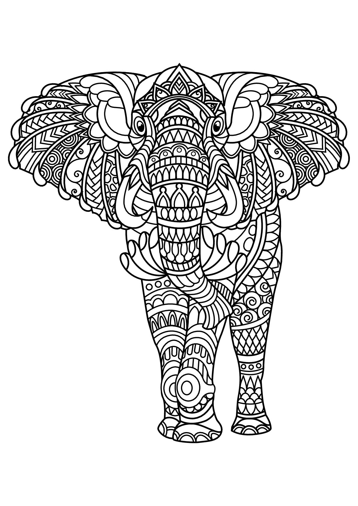 Free book elephant - Elephants Adult Coloring Pages | free printable coloring pages for adults animals