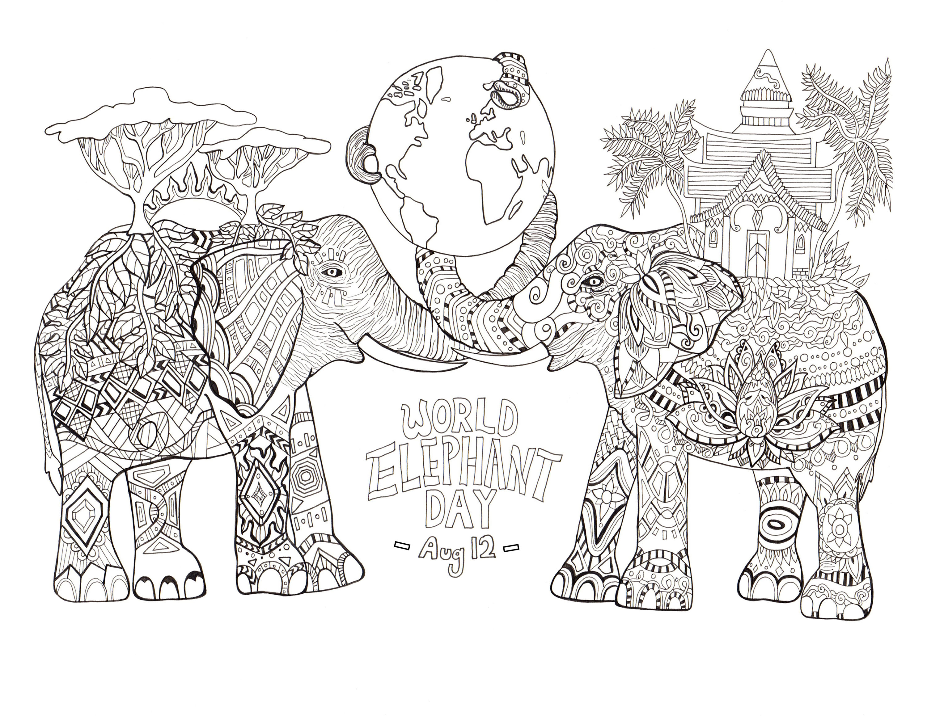 World Elephant Day Elephants Coloring Pages For Adults Justcolor
