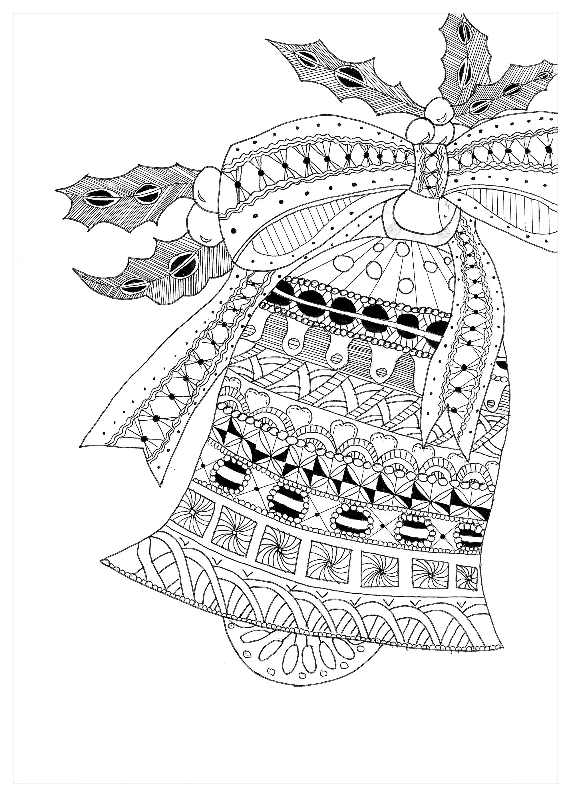 Coloring Page Zentangle Bell Christmas Christmas