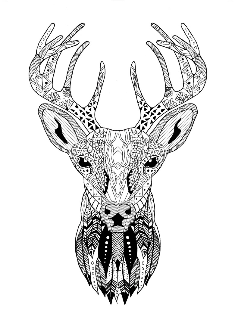 page zentangle reindeer christmas - christmas adult coloring pages
