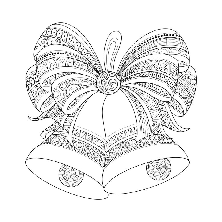 christmas bells zentangle style - christmas adult coloring pages