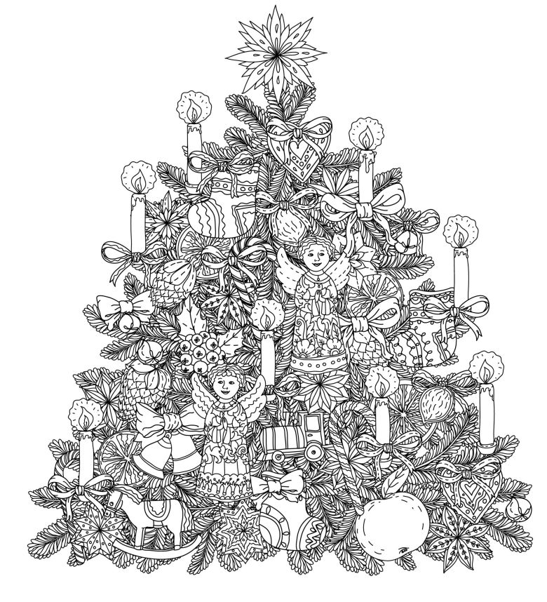 christmas tree with ornaments - christmas adult coloring pages