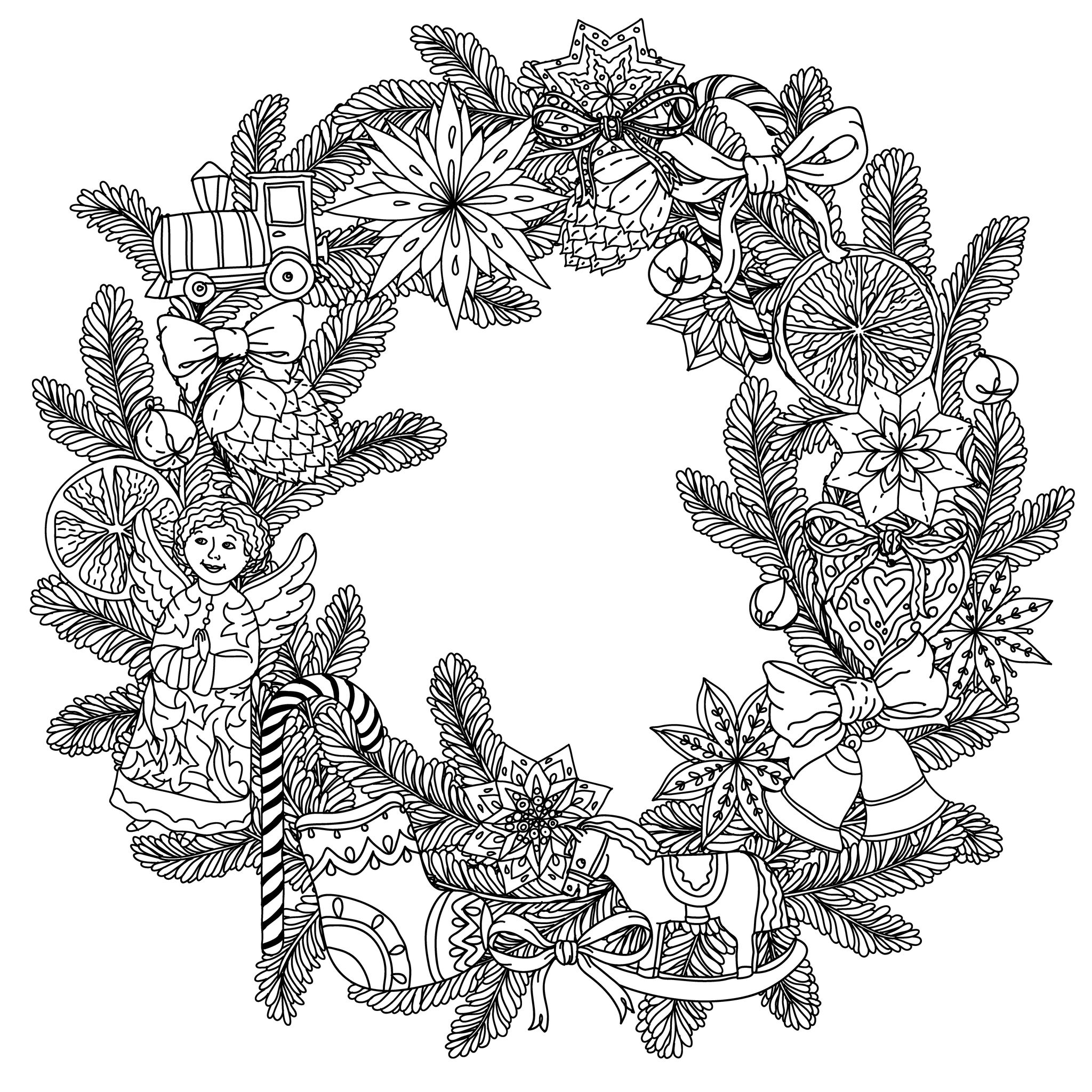 Christmas Wreath By Mashabr Christmas Coloring Pages For
