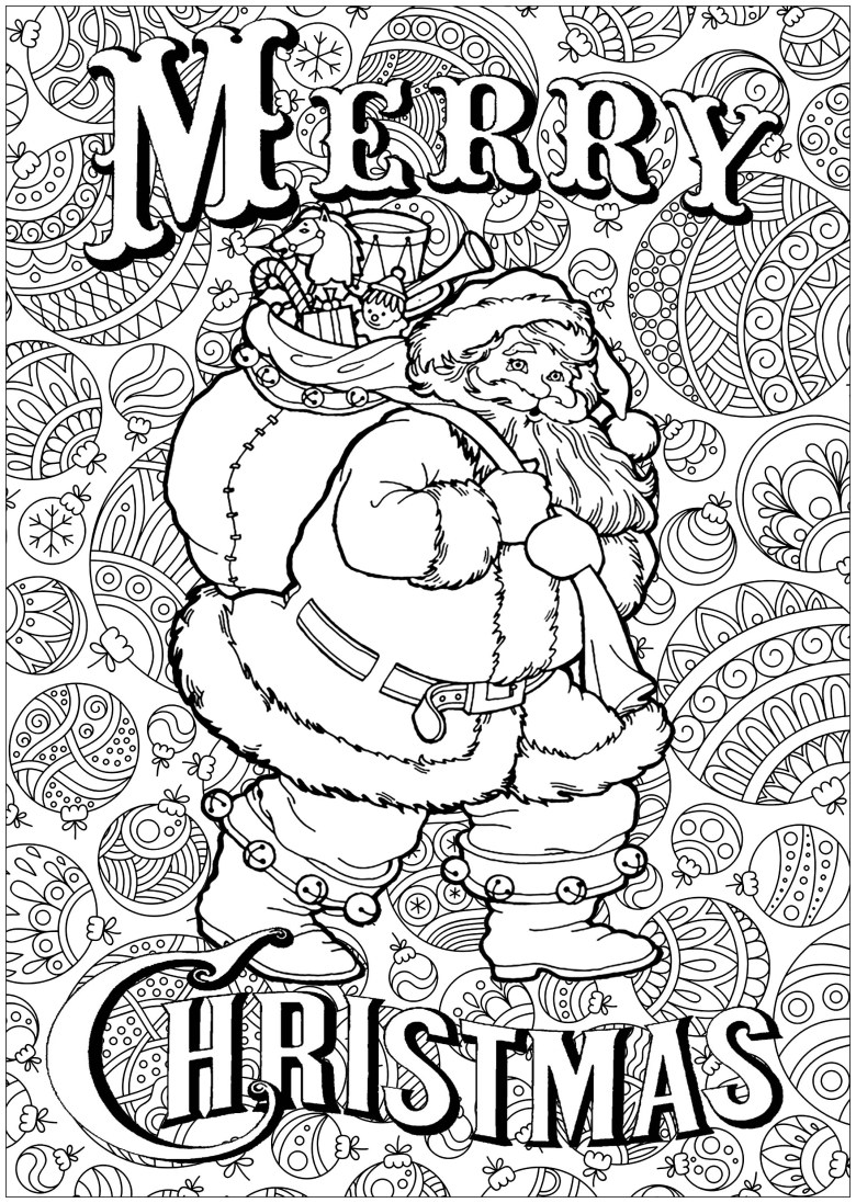 santa claus with text and background - christmas adult coloring pages