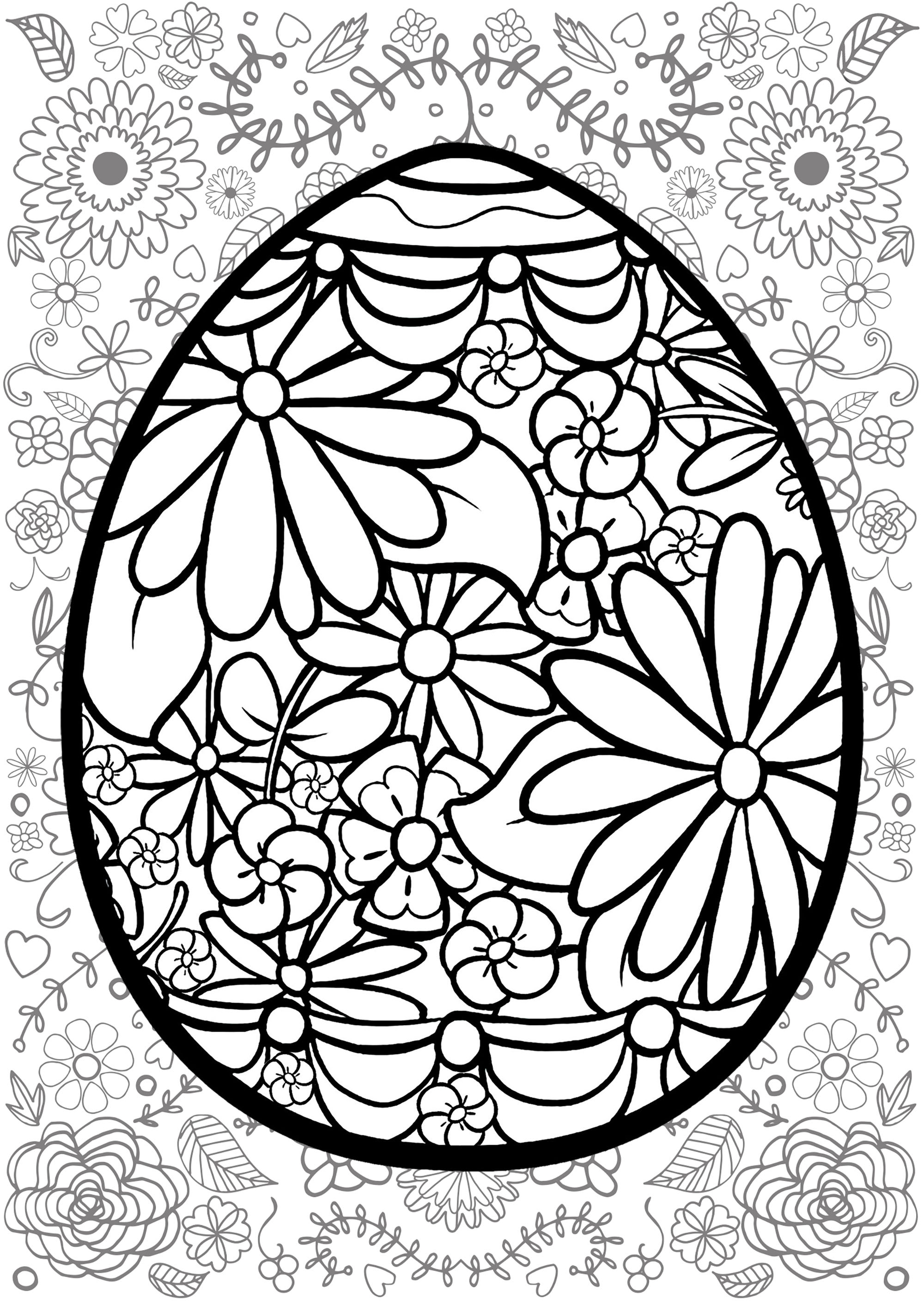 Easter Egg With Flowers With Flowered Background