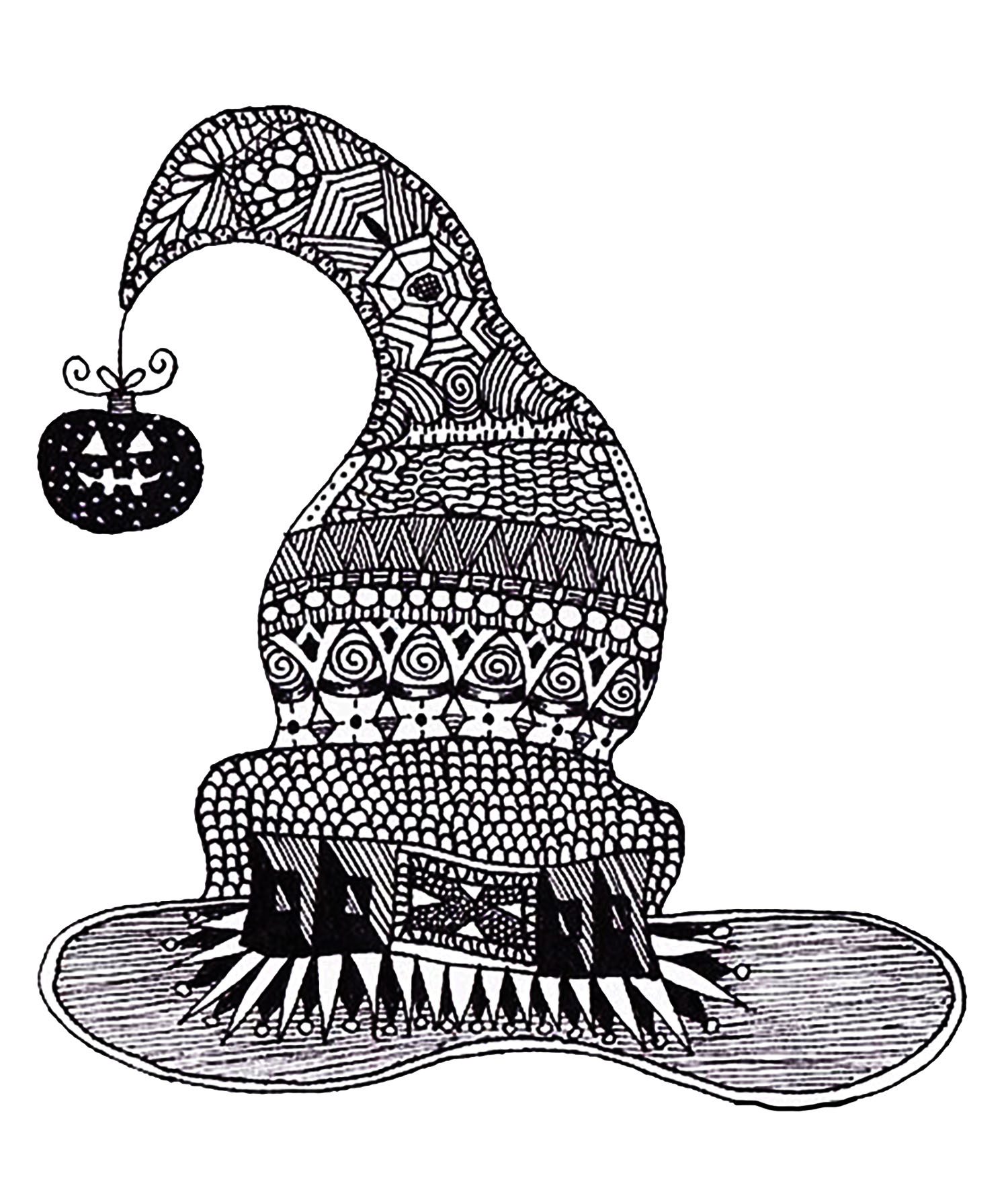 Halloween Zentangle Witch Hat Halloween Adult Coloring Pages