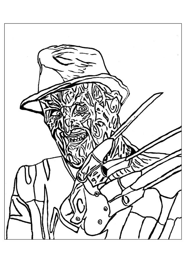 Freddie krueger halloween - Halloween Adult Coloring Pages