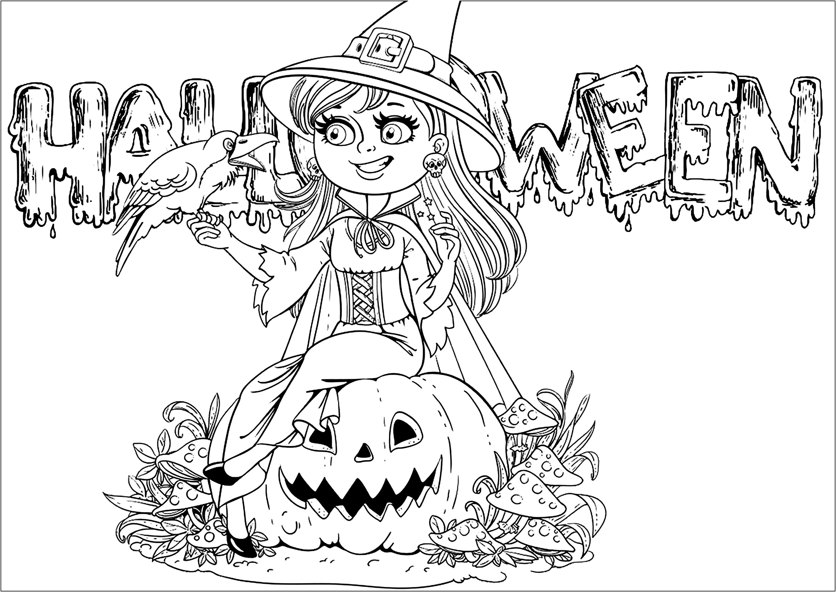 Witch And Halloween Text