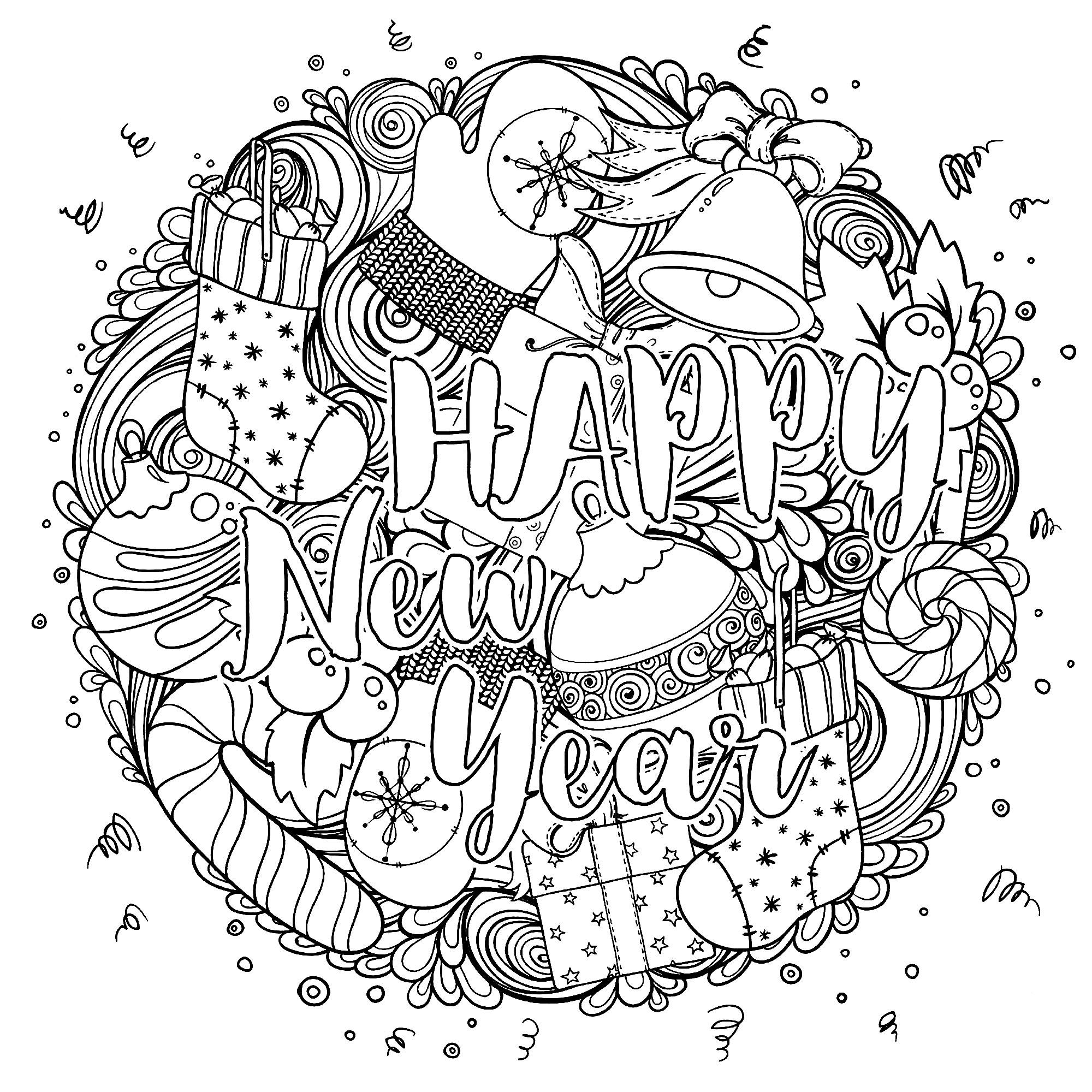 Happy New Year Circular Design