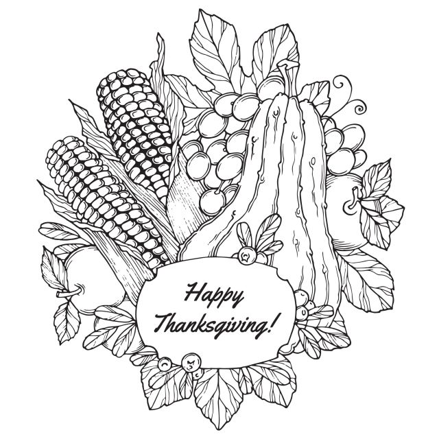 Thanksgiving corn and fruits - Thanksgiving Adult Coloring Pages