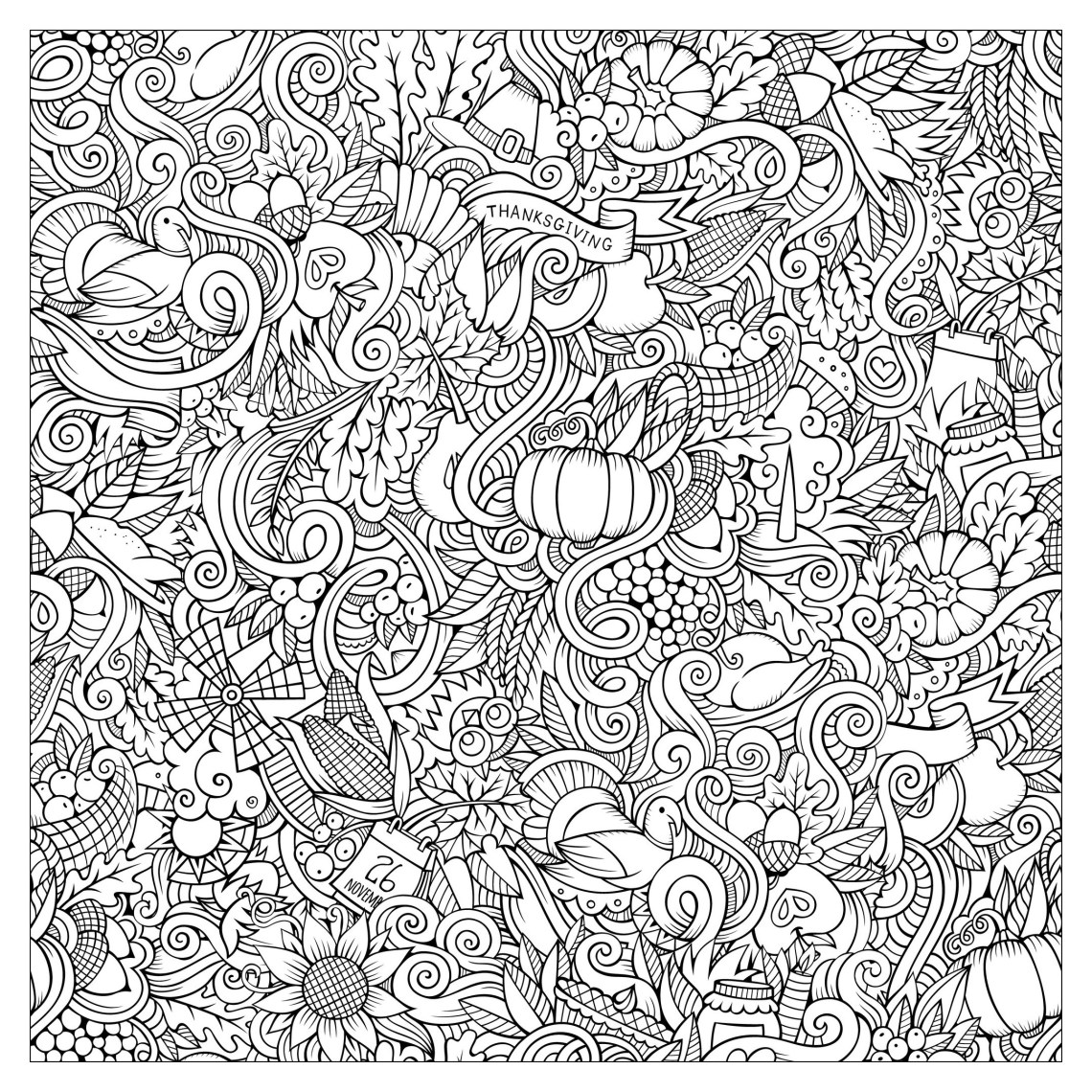 Cartoon vector hand drawn doodles : thanksgiving autumn ... | free fun coloring pages for adults